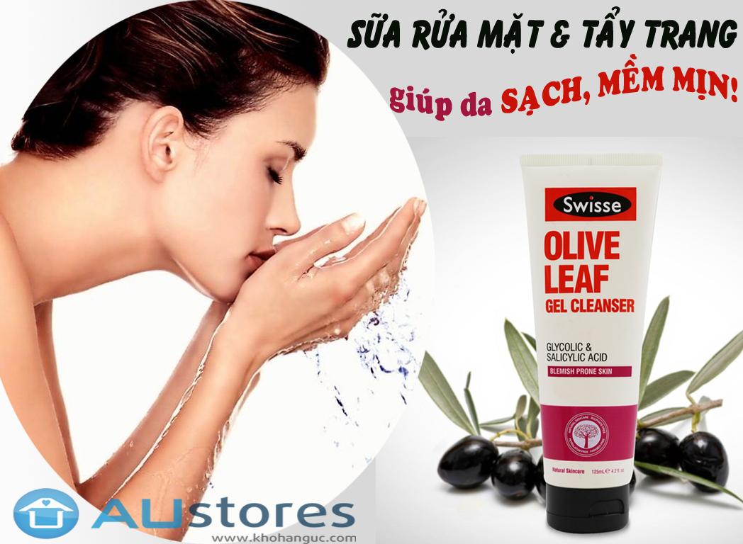 Sữa rửa mặt dạng gel Swisse Olive Leaf Gel Cleanser