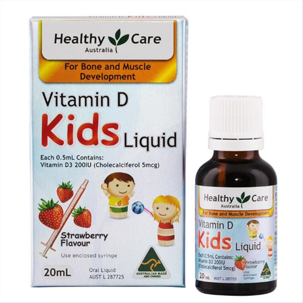 Healthy Care Vitamin D Kids Liquid vitamin D dạng lỏng vị dâu