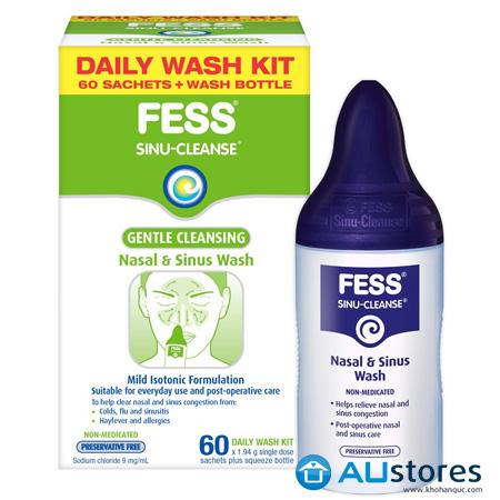 Bình rửa mũi FESS SINU CLEANSE làm sạch mũi nhẹ nhàng, giảm triệu chứng của viêm xoang