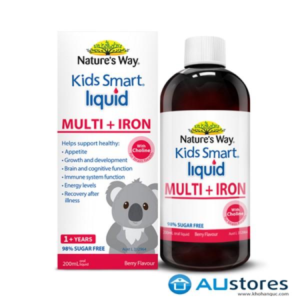 NATURE'S WAY KIDS SMART MULTI IRON LIQUID – bổ sung sắt và các vi chất cần thiết cho trẻ từ 1 tuổi