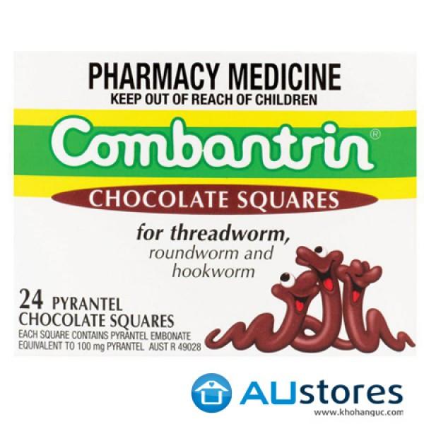 Kẹo tẩy giun vị socola Combantrin Chocolate Squares cho cả gia đình