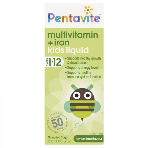 Siro bổ sung vitamin tổng hợp vá sắt cho trẻ từ 1-12 tuổi Pentavite Multivitamin + Iron 200ml