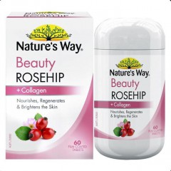 Viên uống đẹp da nature's way beauty rosehip + collagen 60 tablets