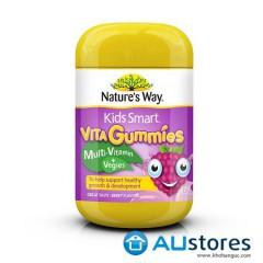 Kẹo dẻo Gummies Muilti Vitamin Vegies bổ sung vitamin và chất xơ từ rau củ của Nature's way 60 viên dành cho bé từ 2 tuổi
