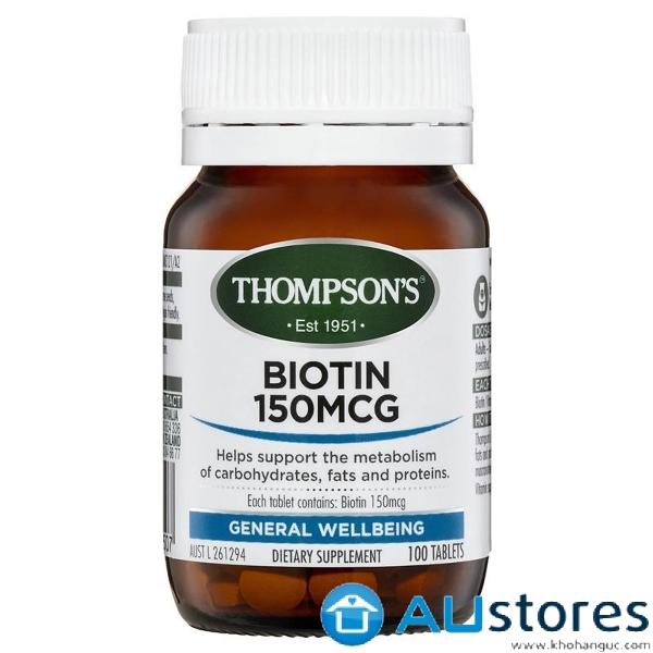 Viên Uống Mọc Tóc và Chống Rụng Tóc Thompsons Biotin 150 MCG