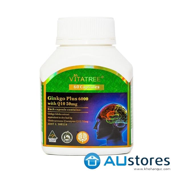 Viên Uống Tăng Tuần Hoàn Não Vitatree Ginkgo Plus 6000 With Q10 50Mg 60 Viên